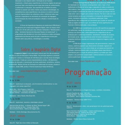 Cartaz com a programação do Seminário Deseducando o Olhar em 2009.